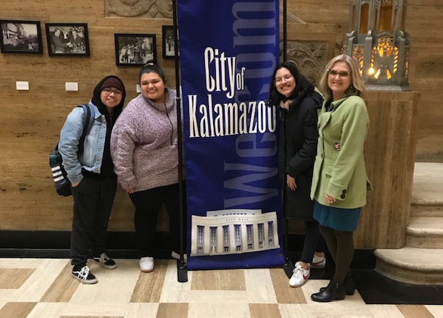 Kalamazoo College Staff and Students at the City Clerk Offices.