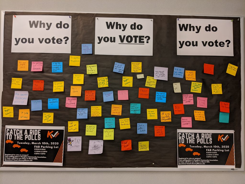 K Votes Bulletin Board with sticky note responses.
