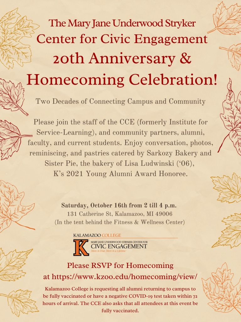 Invitation to The Mary Jane Underwood Stryker Center for Civic Engagement 20th Anniversary & Homecoming Celebration. Two decades of connecting campus and community. Please join the staff of the CCE (formerly Institute for Service-Learning), and community partners